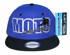 JUST RIDE MOTO HAT MOTOCROSS FLAT BILL SNAPBACK CAP MX DIRT BIKE BLUE YZ YAMAHA