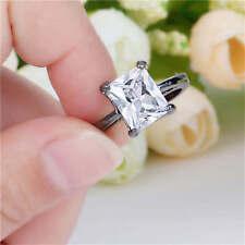 Jewelry Round Cut White Sapphire black Rhodium Plated Womens Ring Size 8