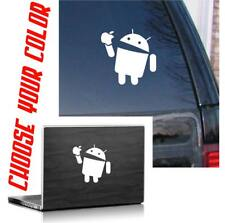 Android eating apple funny die cut vinyl decal / sticker  phone tablet conpu