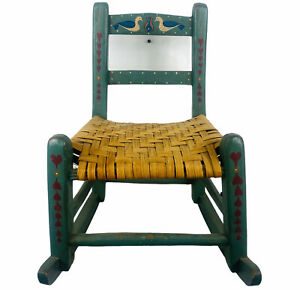 Vintage Childs Primitive Folk Rocking Chair Straw Rush Seat Pennssylvania Dutch