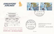 Switzerland 1986 First flight from Zurich to Singapore Unadressed FDC