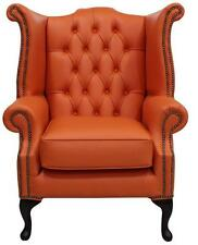 Chesterfield Armchair Queen Anne High Back Wing Chair Flamenco Orange Leather