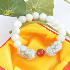 Magnifique Bracelet  Animal Légendaire Double Pixiu en Perles de Jade Vert Clair