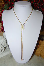 VINTAGE PANETTA GOLD TONED METAL CHAIN LARIAT NECKLACE WITH PAVE STONES PENDANT