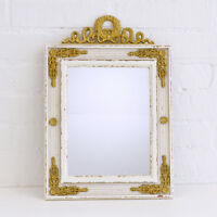 Shabby Cottage Chic French Vintage Style Gold Gilt White Wall Framed Mirror