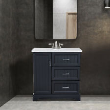 "34"" Modern Ceramic Sink Bathroom Vanity Set Storage Organizer Cabinet Drawers"