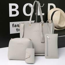 4pcs/set Litchi Leather Tassel Women Crossbody Tote Shoulder Handbag Card Bags