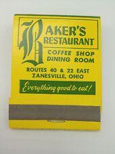 Baker s Restaurant Matchbook Zanesville OH Rte 40 Front strike unstruck