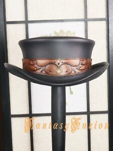 SHORT Topper Hat Earth Spirit Elven Style Leather Top Hat Burning Man