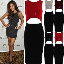Womens Sequin Midi Dress Ladies Cut Out Bodycon Party ZipUp Top Stretch Skirt uk