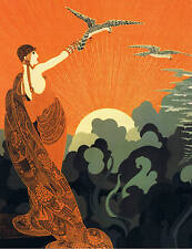 ART DECO LADY WITH BIRDS. A 4 SIZE. Poster print.