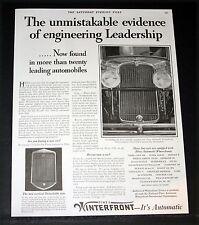1929 OLD MAGAZINE PRINT AD, PINES, WINTERFRONT AUTOMATIC CAR RADIATOR SHUTTER!