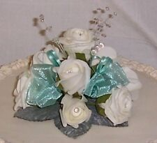 wedding flowers ivory & aqua cake dec single topper