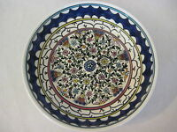 "Vintage Turkish Detail Hand Painted Flowers Art Pottery Bowl, 9"" D X 1 3/4"" H"