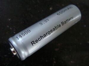 IFR 14500 AA 600mAh 3,2V LiFePO4 Pluspol erhöht  Li-Ion Akku Solar-Lampen