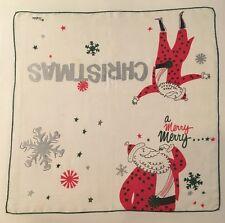 Vintage Designer Welcher Merry Christmas Hankerchief Hankie Santa Snowflakes