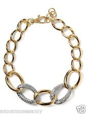 """NWT Banana Republic Gilded Link Necklace Jewelry Gold Stones Glass 18"""" $79 NEW"""