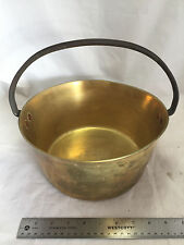 Antique Vintage Heavy Brass Metal English Kettle Pot Cauldron Copper Rivets