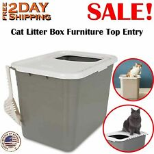 Cat Litter Box Furniture Top Entry Large Box Covered For Cats Lid Door Top New