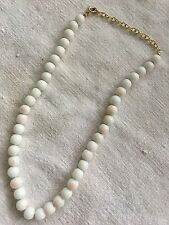 """* Vintage 15""""-18"""" Napier Pink White Glass Coral 9mm Bead Necklace"""