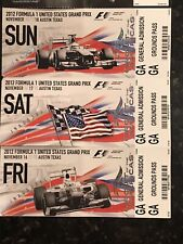 New listing 🏁 2012 FORMULA 1 INAUGURAL USGP COLLECTIBLE TICKETS * Lot of 3 * US Grand Prix