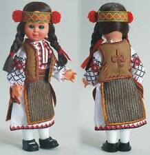 Ukrainian Doll with Brown Hair and Embroidery,Vest, Blinking,Headpiece, 7 1/2""