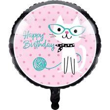 """17"""" Purr-fect Fête Feuille Ballon Hélium Joyeux Anniversaire Chat Kitty Décoration Nouveau"""
