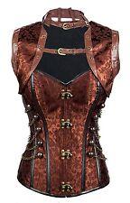 Charmian Womens Steampunk Vintage Spiral Steel Boned Brocade Bustier Corset Top