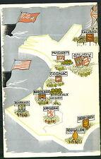 1947 ADVERT Vinyard French Wine Regions Champagne Bordeaux Cognac Paris Map