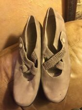 Rockport Tan Suede Mary Jane Criss Cross Leather Shoes Size 10M Sat In Closet