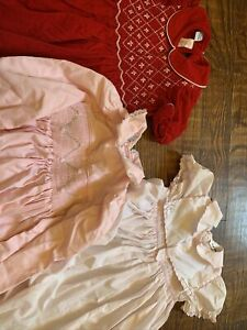Lot Of 3 Anavini Dress Girls 3T Christmas Smocked  2 Pink Rompers ADORABLE!