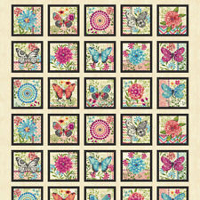Butterfly Dream Butterfly Blocks By Studio E 100% Quilting Cotton Fabric Panel