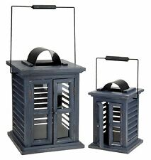 Set of 2 Shabby Chic Distressed Finish Grey Wooden Lanterns Indoor or Outdoor