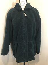 WOOLRICH Fuzzy Soft FLEECE Fully Lined Parka Jacket Women's Sz Medium Green Coat
