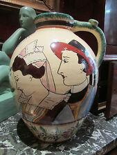 ancienne grosse cruche vase faience de quimper HB RJ breton bretonne fleurs
