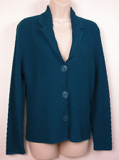 Jones New York Collection Cardigan Sweater Small S Diamond Weave Dark Turquoise