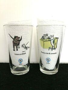 Bad Dog Wisdom Glasses 16 oz. Tumblers Set of 2 New