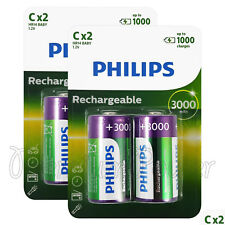 4 x Philips Rechargeable C Size batteries 3000mAh 1.2V Ni-MH HR14 BABY Pack of 2
