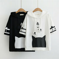 Japanese Neko Atsume Cute Cat Sweet Girl T-shirt Short Sleeve Tee Hooded T-shirt