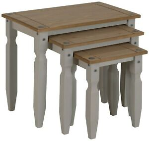 Corona Nest of Tables Grey Wax Piccolo Solid Pine 3 Living by Mercers Furniture®