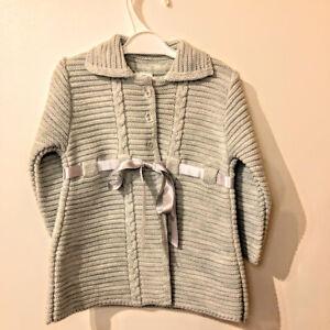 baby babies girls girl knitted pram coat grey with ribbon