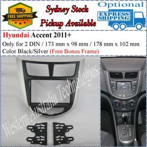 Fascia facia Fits Hyundai Accent 2011-2015 Black/Silver Two 2 DIN Dash Kit