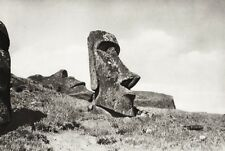 1934 Vintage 11x14 ~ POLYNESIA ~ Easter Island Stone Statues Landscape Photo Art