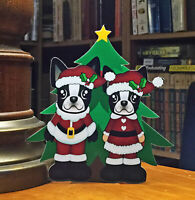 "Boston Terrier Mr and Mrs Santa Christmas Tree 6"" Decor"