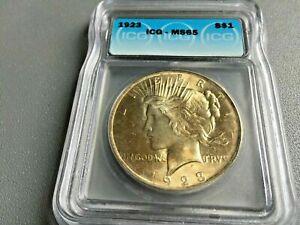 1923 Peace Dollar Silver S$1 Gem Brilliant Uncirculated Mint ICG MS65 Gold Tone