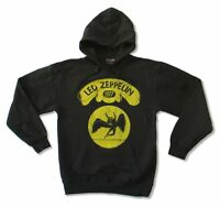 Led Zeppelin Yellow Swan Song 1977 Logo Black Pull Over Sweatshirt Hoodie NEW