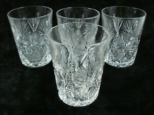 "4 Fry ABP Cut Glass Freedom Tumblers 3 3/4"" American Brilliant Period Tumbler"