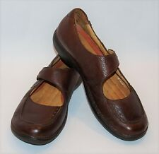 WOMENS CLARKS STRUCTURED BROWN MARYJANE LOAFERS LEATHER FLAT SHOES SIZE 9