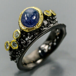 Jewelry FineArt ring Blue Sapphire Ring Silver 925 Sterling  Size 8 /R168548