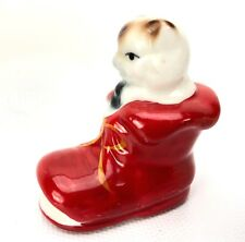 "Antique Vtg Mini Kitty Cat Shoe Puss in Boot Figure Figurine Porcelain Paint 2"""